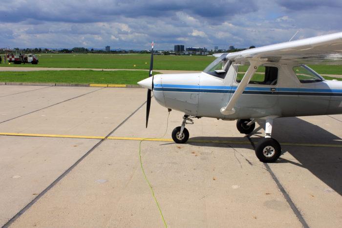 Die Cessna 172 mit schon ziemlich vielen Flugstunden